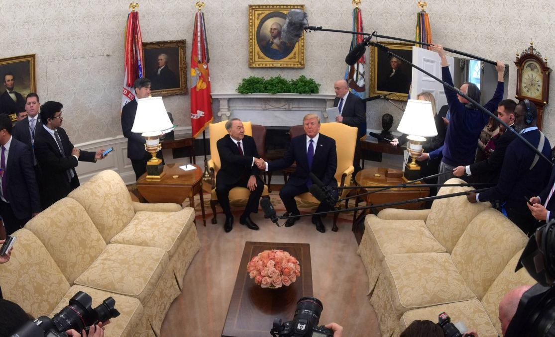 President of Kazakhstan Nursultan Nazarbayev negotiates with Donald Trump, President of the USA